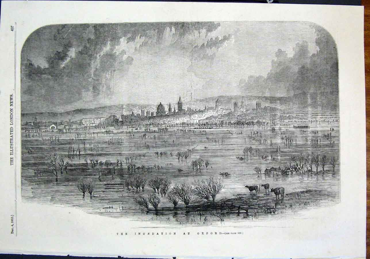 Print Oxford Floods Flood Cattle England 1852 97Maa0 Old Original