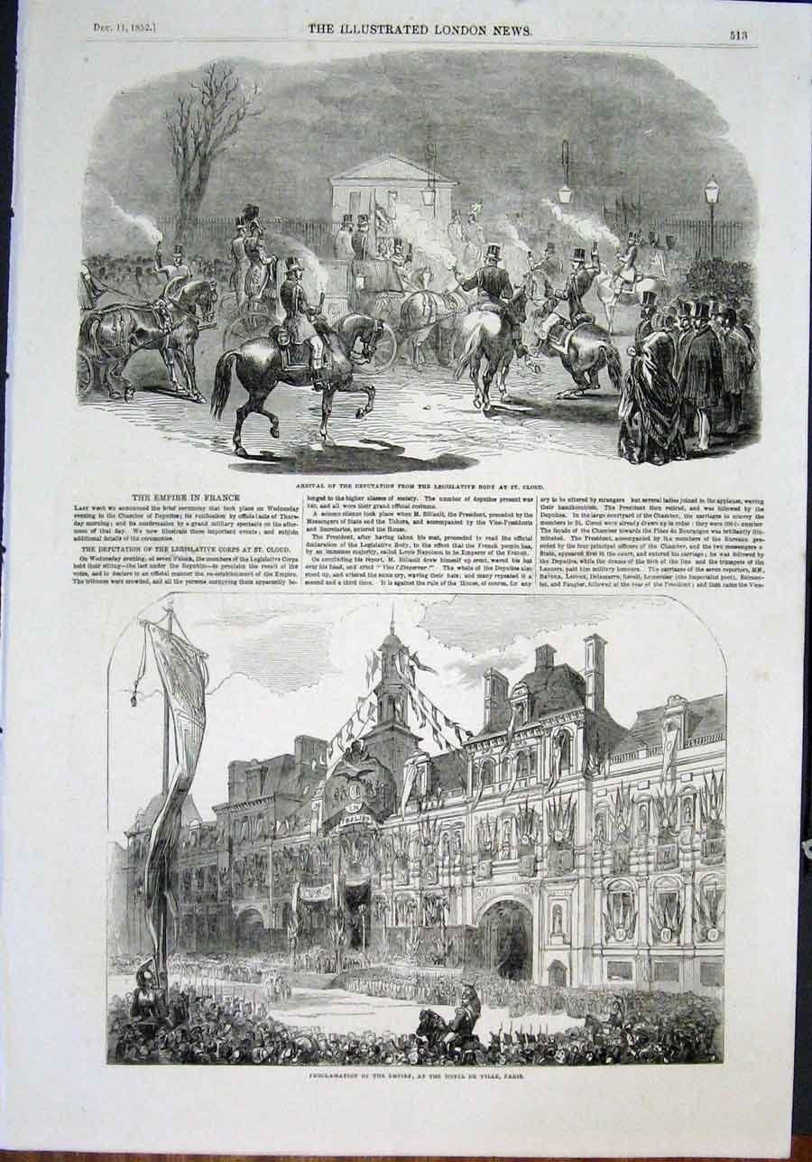 Print St Cloud France Legislative Corps Empire Hotel De Ville 13Maa0 Old Original