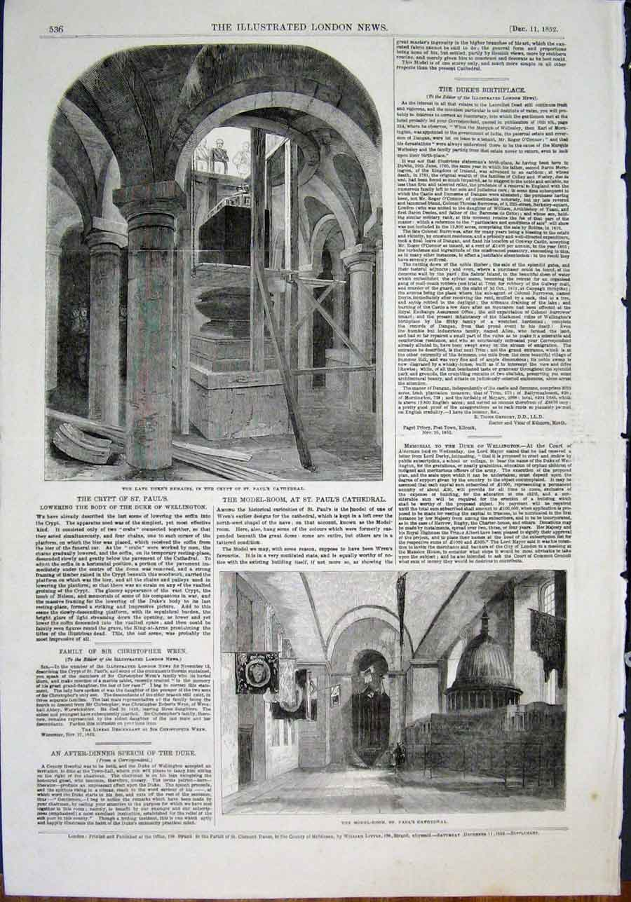 Print St Paul'S Cathedral Crypt Wellington London 1852 36Maa0 Old Original
