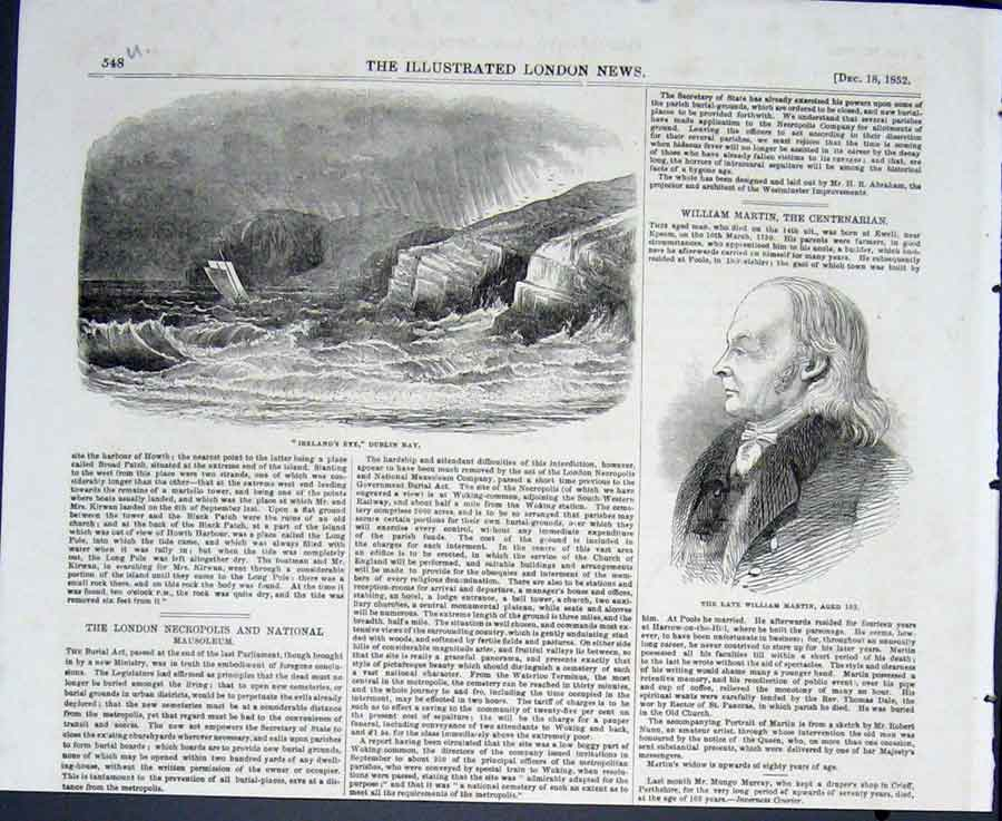 Print Portrait William Martin Ireland'S Eye Dublin Bay Boat 48Umaa0 Old Original