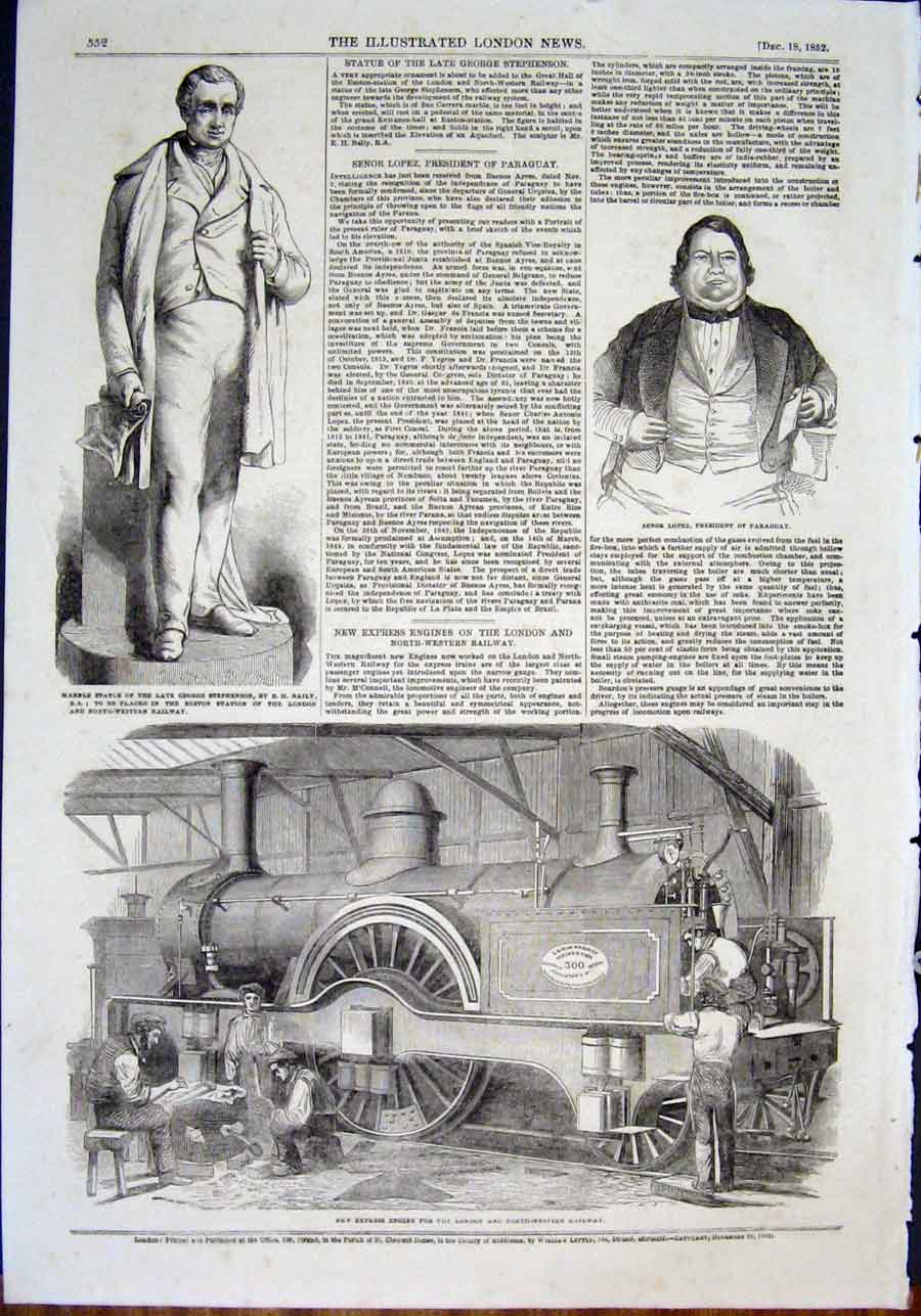 Print Statue Stephenson Baily Lopez Portrait Engine Railway 52Maa0 Old Original