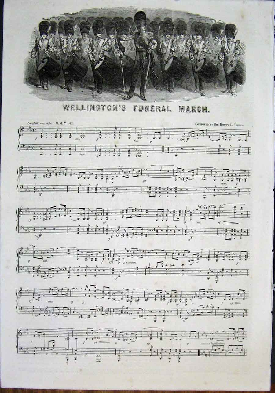 Print Music Score Sheet Wellington Funeral March Bishop 1852 02Amaa0 Old Original