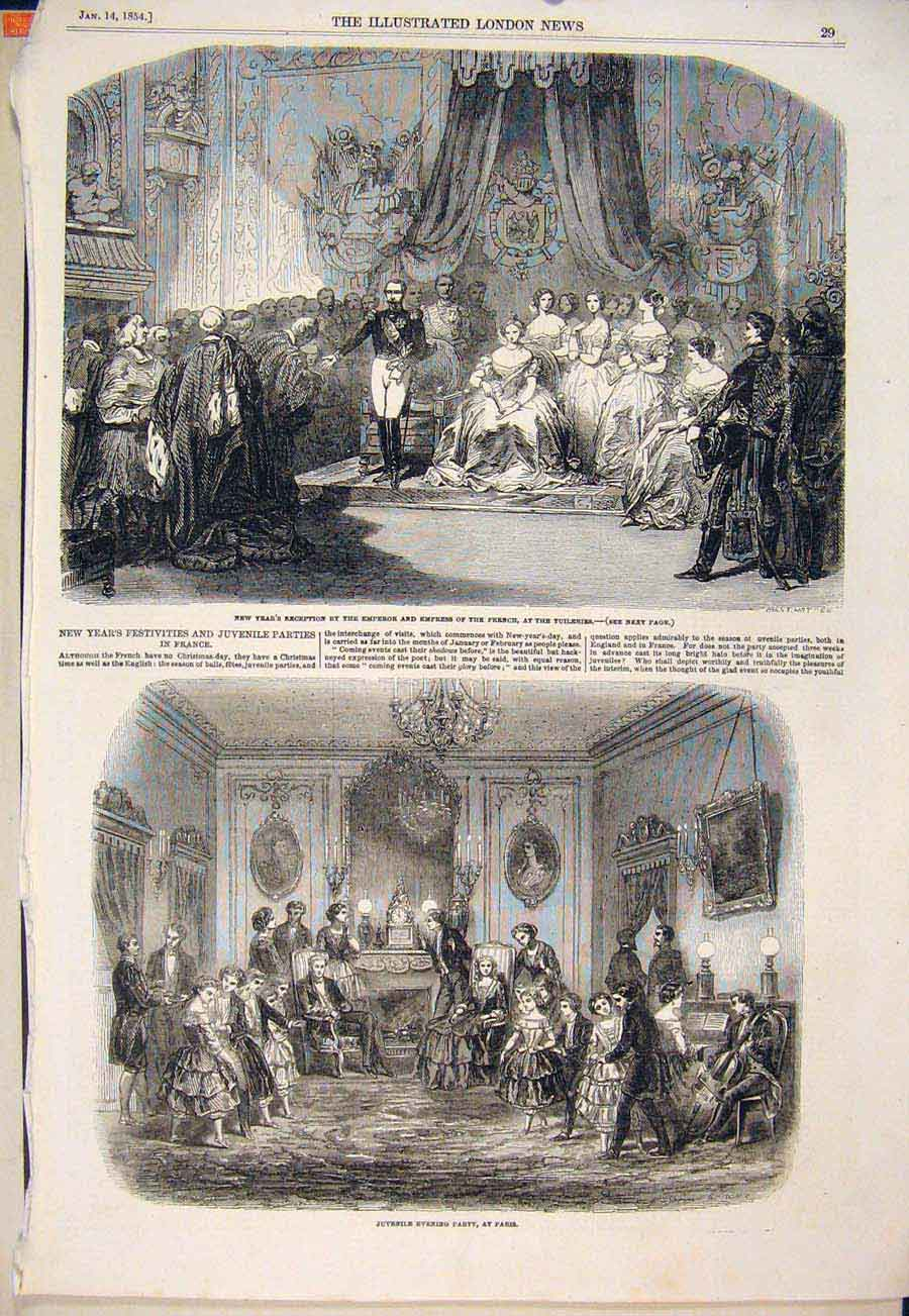 Print Tuilleries Emperor Empress Juvenille Party Paris France 29Maa0 Old Original