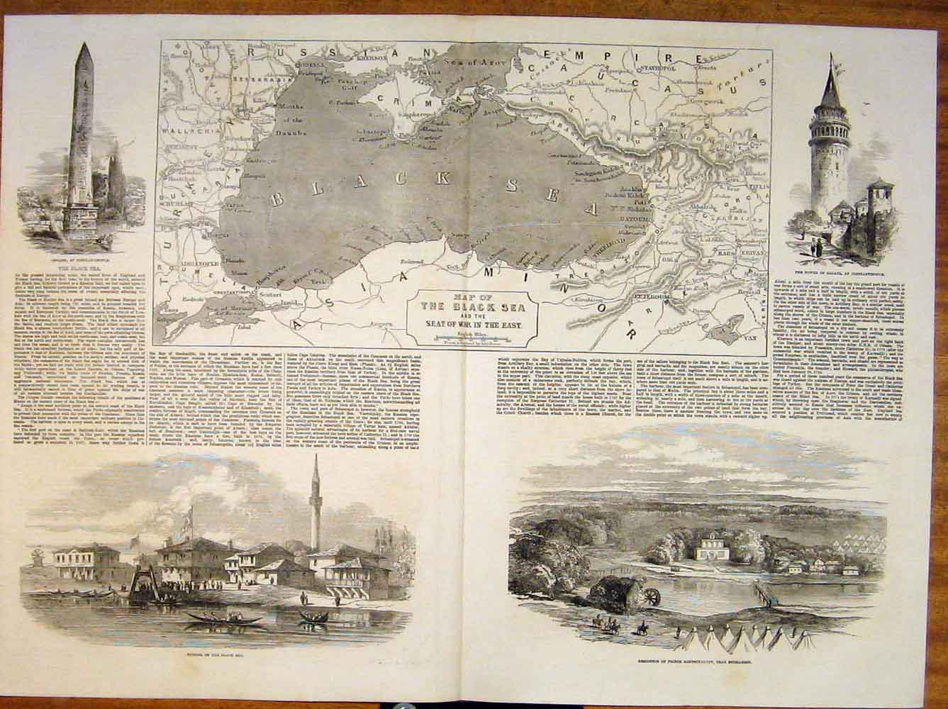 Print Black Sea War Constantinople Bucharest Galata 1854 31Tmaa0 Old Original