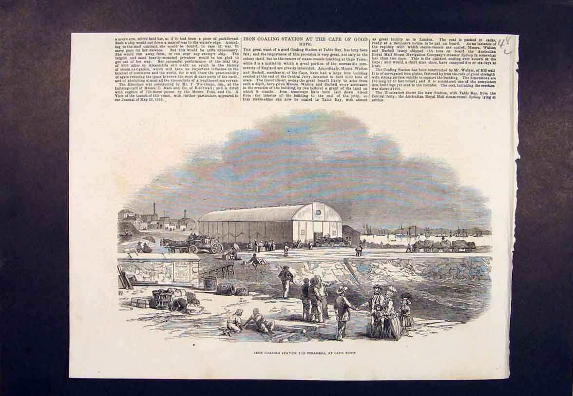 Print Iron Coaling Station Steamers Cape Town Africa 1854 48Lmaa0 Old Original