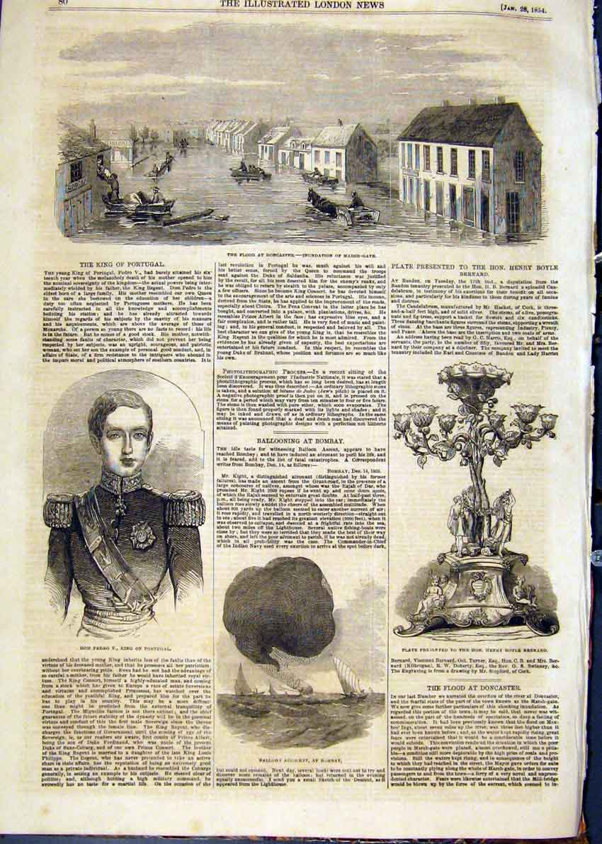 Print Doncaster Flood Portrait Pedro Portugal Balloon Bombay 80Maa0 Old Original