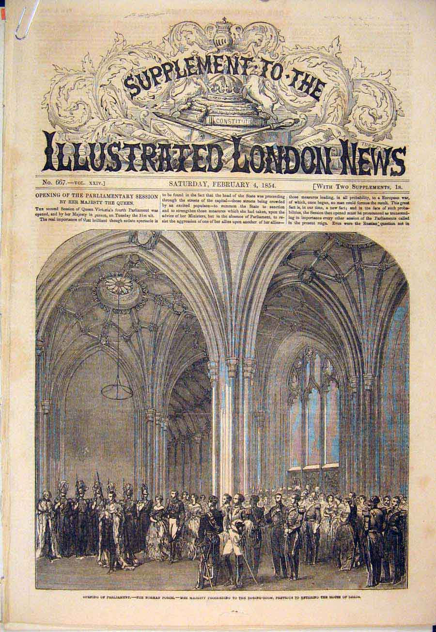 Print Parliament St Stephen'S Porch Norman House Lords 1854 05Amaa0 Old Original