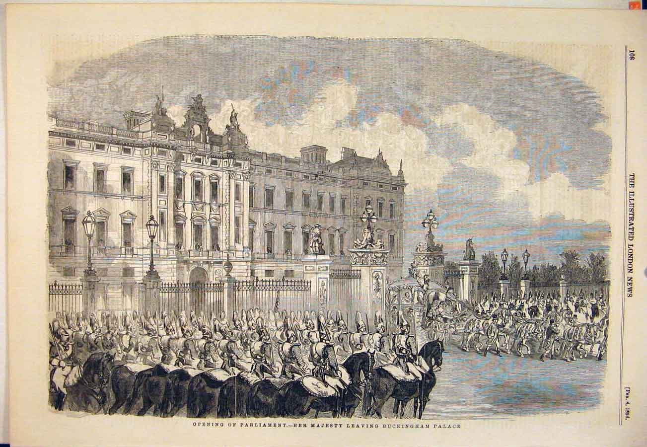 Print Parliament Queen Buckingham Palace London 1854 08Maa0 Old Original