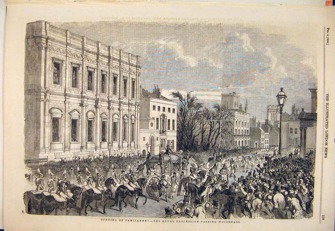 Print Parliament Royal Procession Whitehall London 1854 09Maa0 Old Original