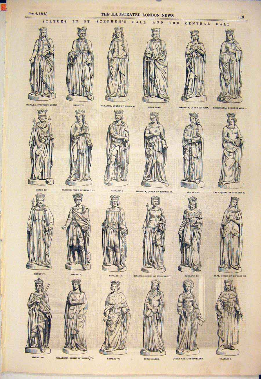 Print Statues St Stephen'S Hall Central Statue Queen 1854 13Maa0 Old Original