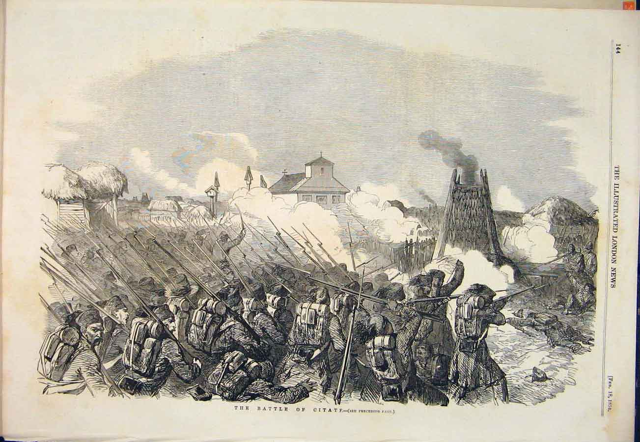 Print Battle Citate Pacha Turks Russians 1854 44Maa0 Old Original