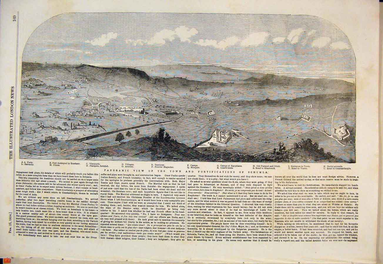 Print Schumla Panoramic View Town Village Prison Camp 1854 69Maa0 Old Original