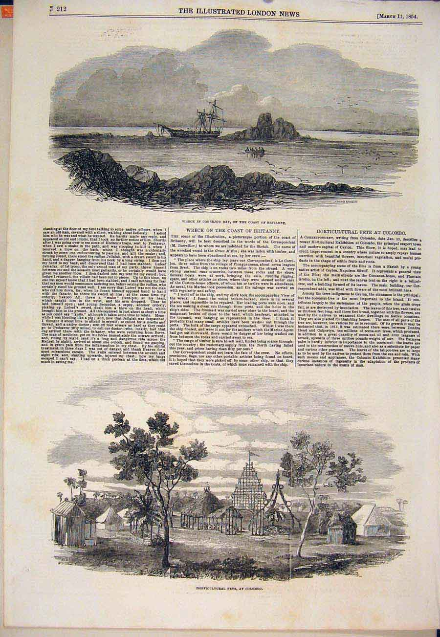 Print Wreck Correjou Britanny Horticultural Fete Colombo 12Maa0 Old Original
