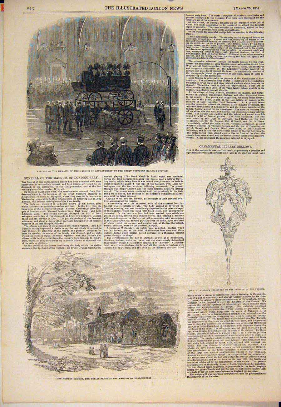 Print Marquis Londonderry Station Long Newton Church 1854 76Maa0 Old Original