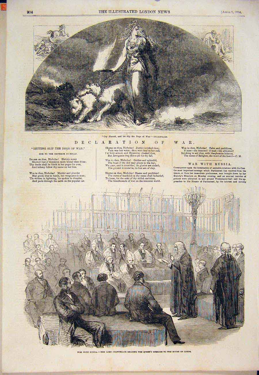 Print War Declaration Russia Lord Chancellor House Lords 1854 04Maa0 Old Original