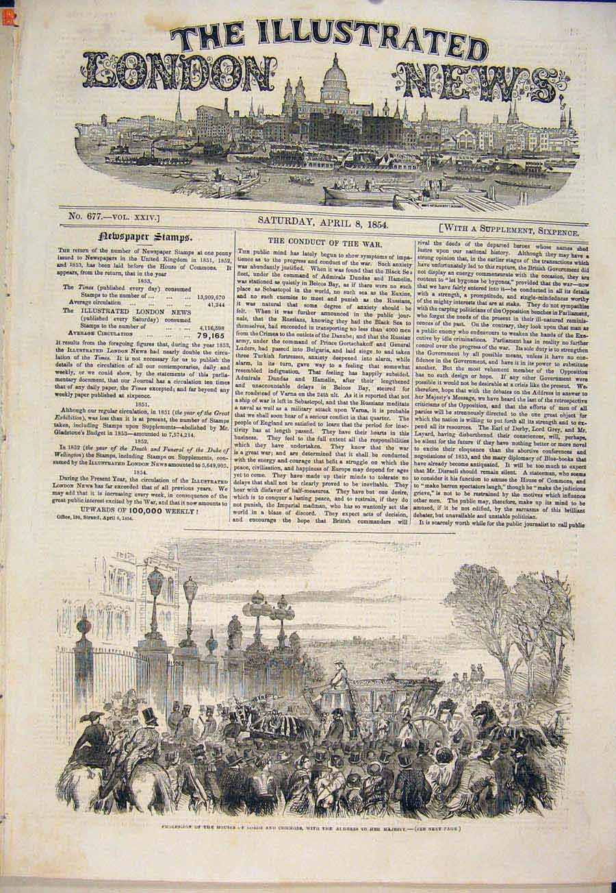 Print House Lords Commons Procession Queen London 1854 10Maa0 Old Original
