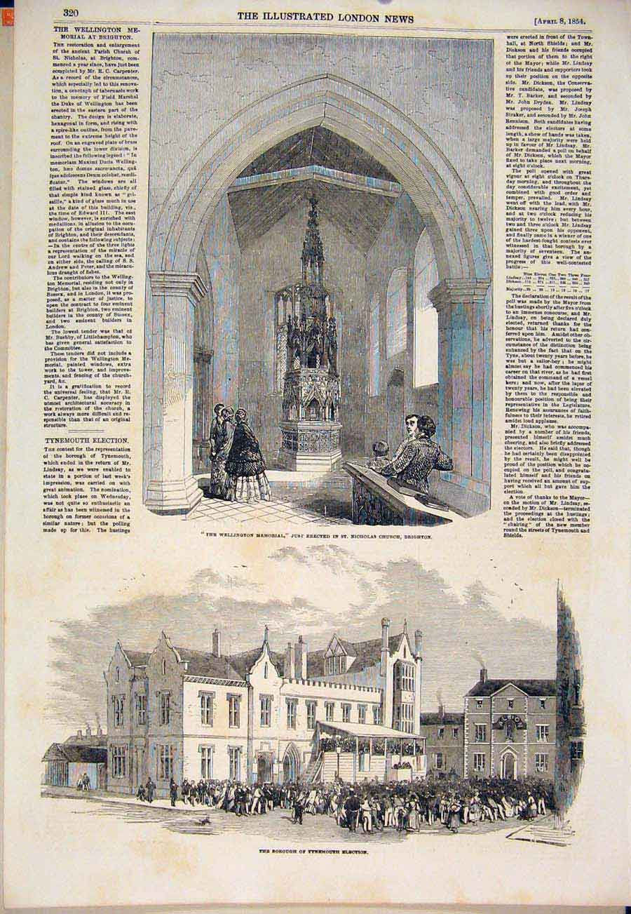 Print Wellington Memorial Brighton Tynemouth Election 1854 20Maa0 Old Original