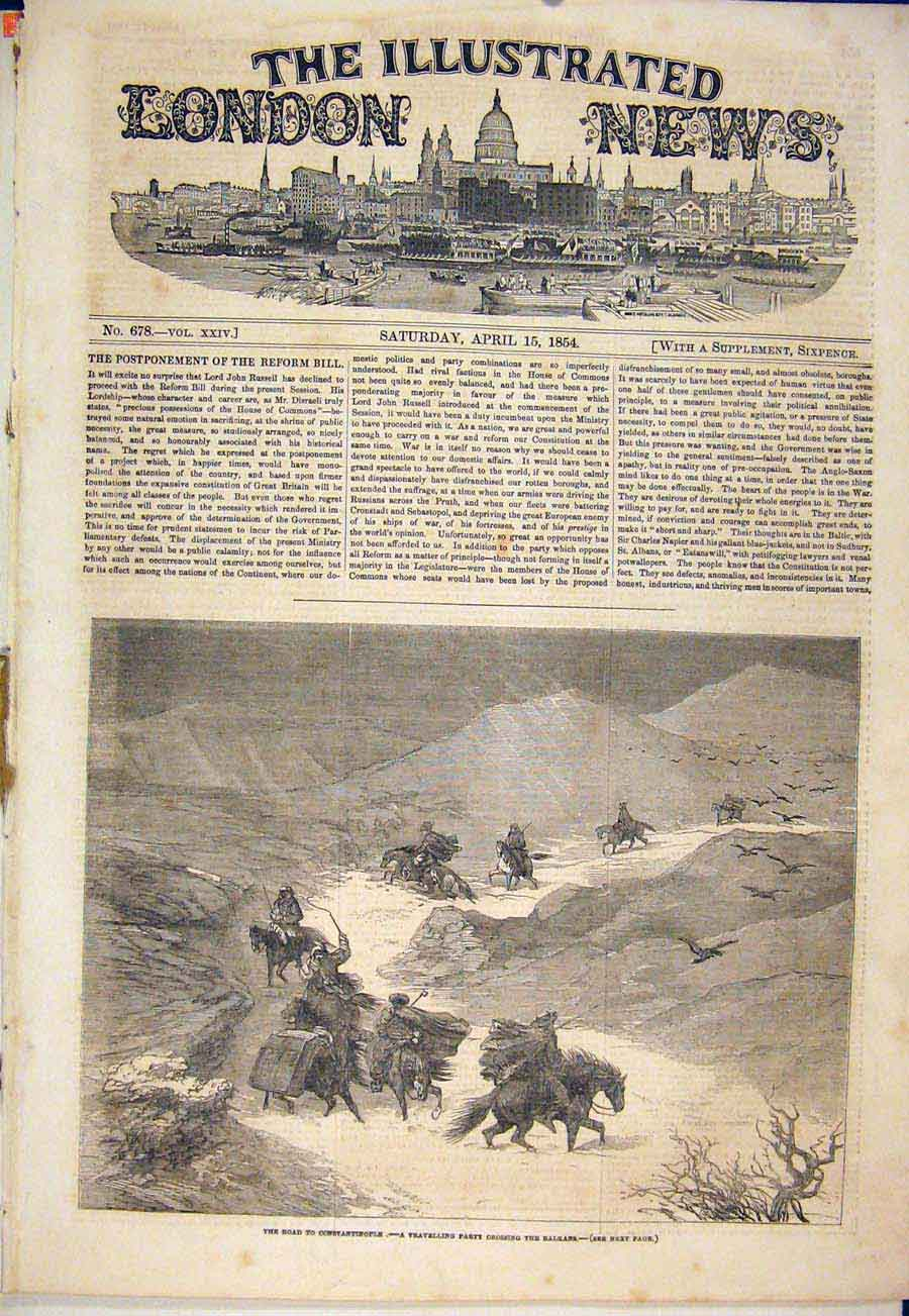 Print Constantinople Balkans Snnow Storm 1854 34Maa0 Old Original