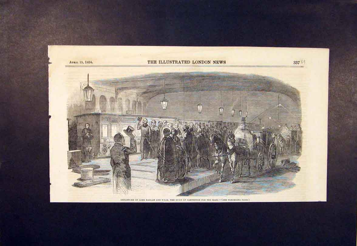 Print Lord Raglan Duke Cambridge Coach Train Station 1854 37Umaa0 Old Original