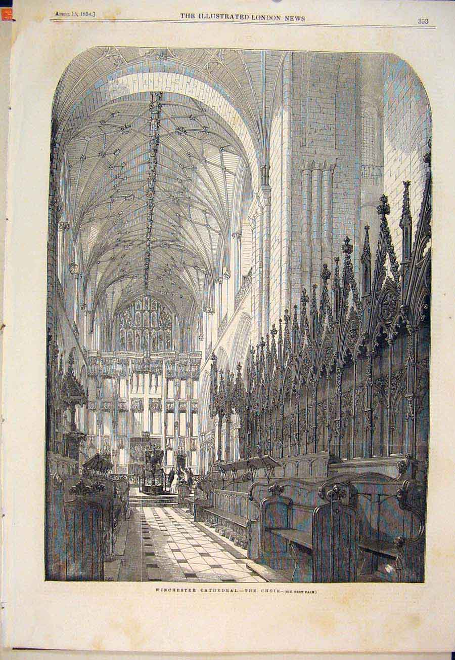 Print Winchester Cathedral Choir London 1854 53Maa0 Old Original