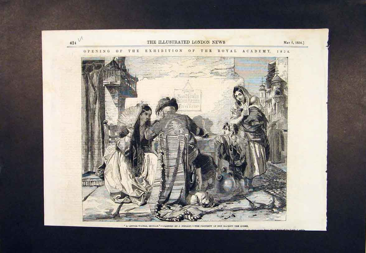 Print Seville Letter Write Phillip Royal Academy 1854 24Umaa0 Old Original