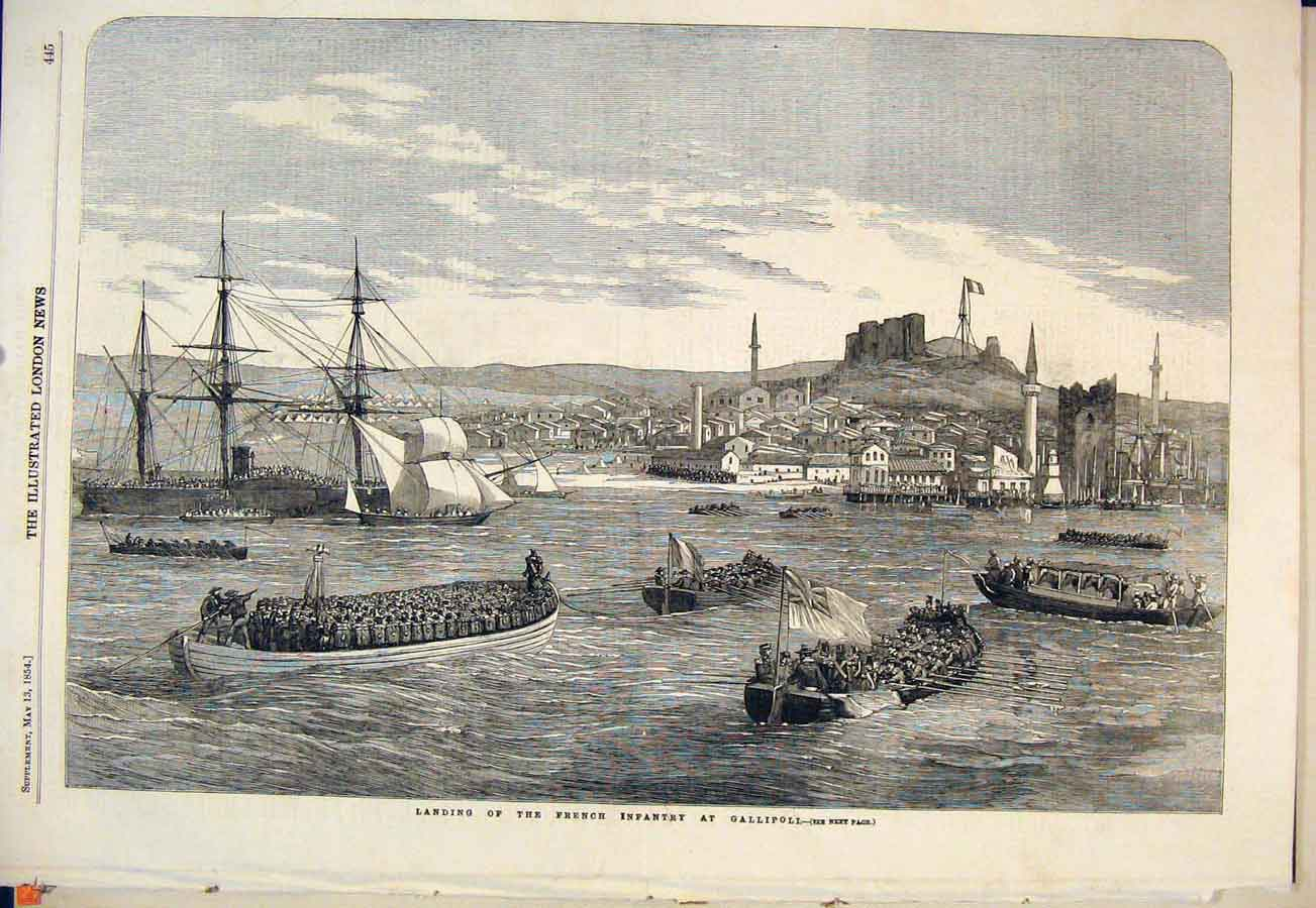 Print French Infantry Gallipoli Launch Boats 1854 45Maa0 Old Original
