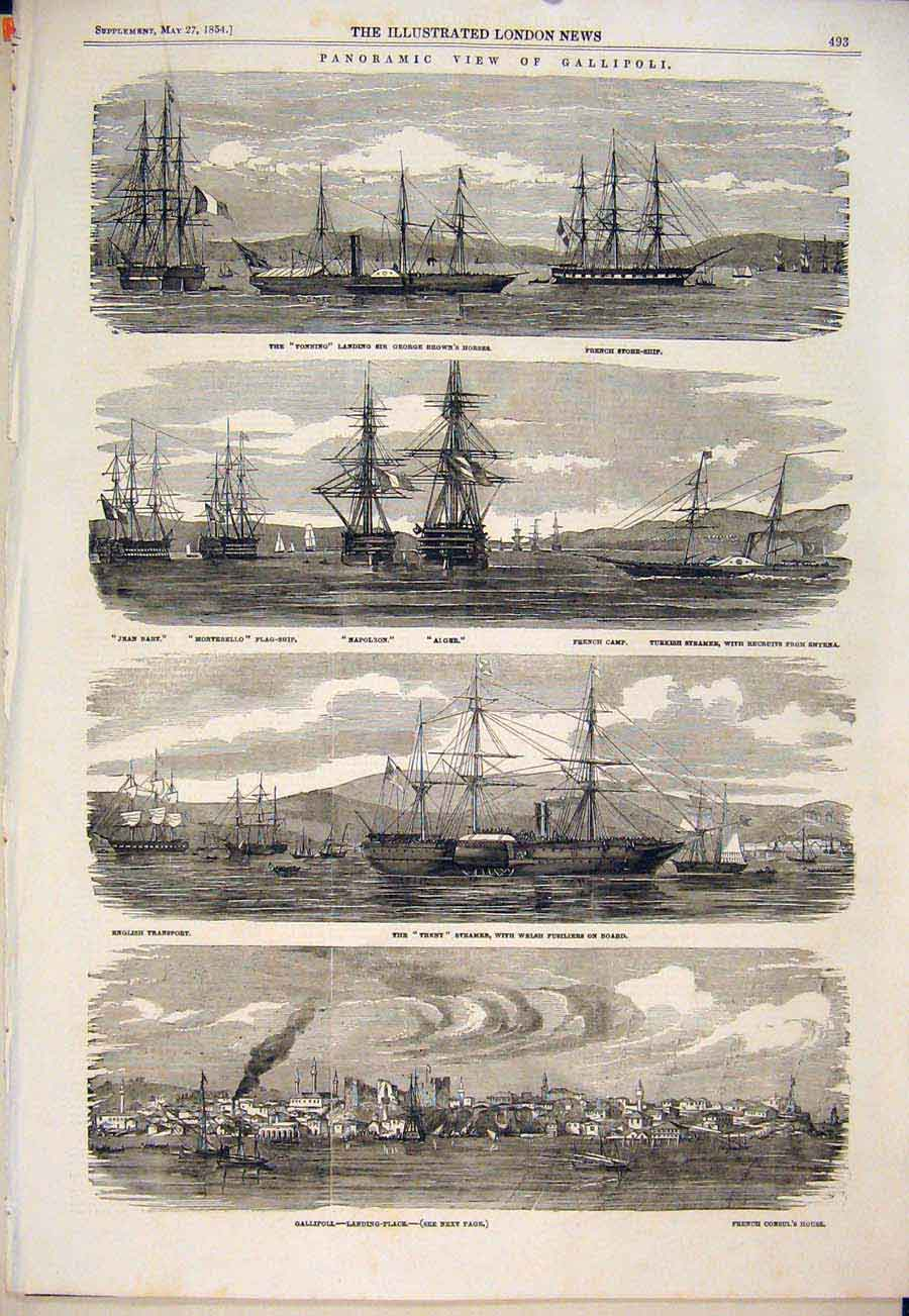 Print Gallipoli Ships Ship Steamer Alger Napoleon Trent 1854 93Maa0 Old Original
