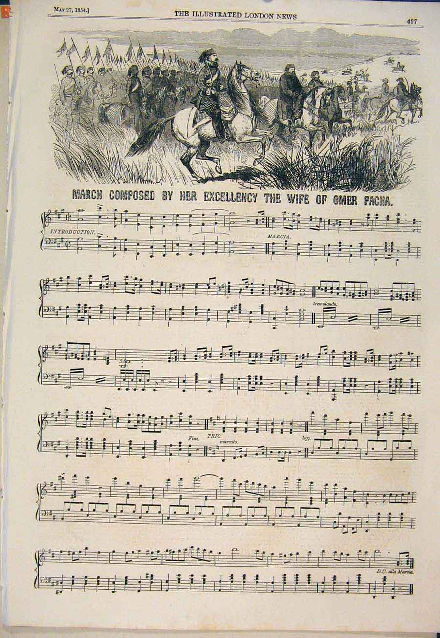 Print Song Music Score Sheet Omer Pacha Composed 1854 97Maa0 Old Original