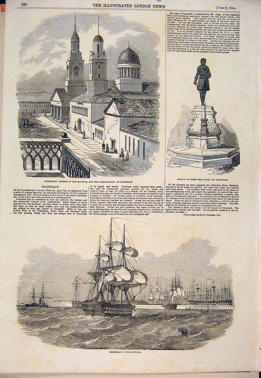 Print Cathedral Church Cronstadt Statue Peter Harbour 1854 20Maa0 Old Original