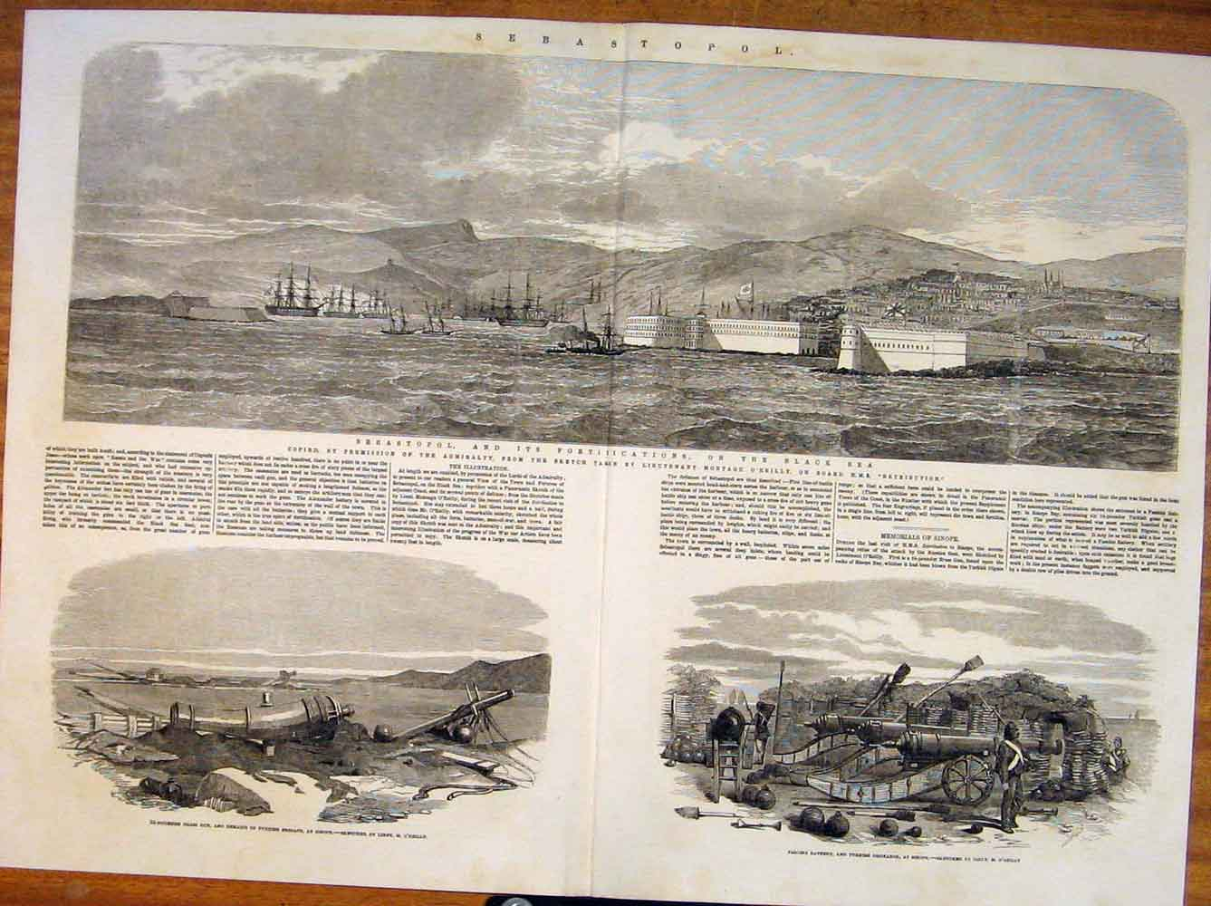 Print Sebastopol Black Sea Admiralty Turkish O'Reilly Guns 23Tmaa0 Old Original