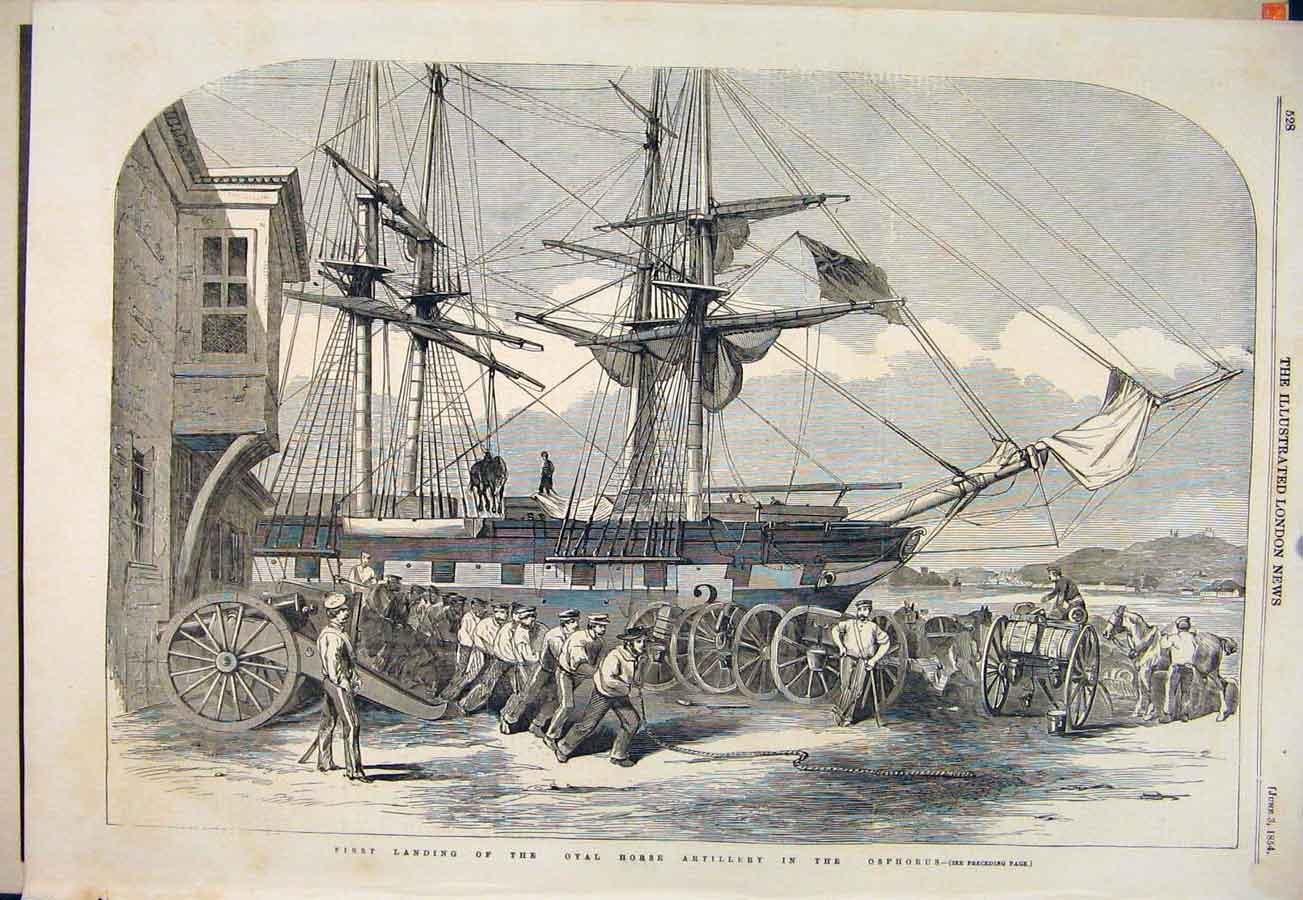 Print Royal Horse Artillery Osphorus Ship 1854 28Maa0 Old Original
