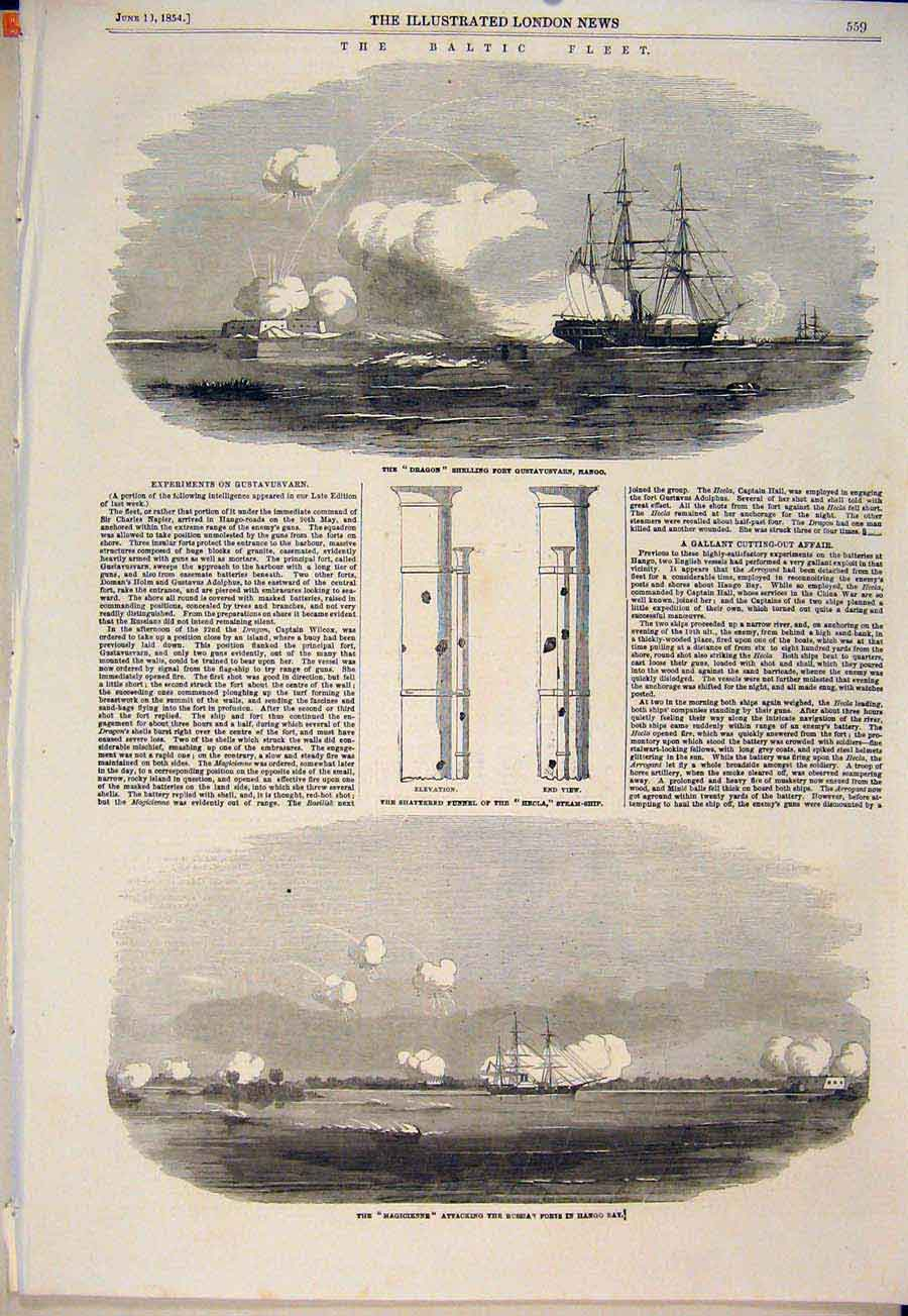 Print Dragon Hango Hecla Funnel Magicienne Steam Ship 1854 59Maa0 Old Original