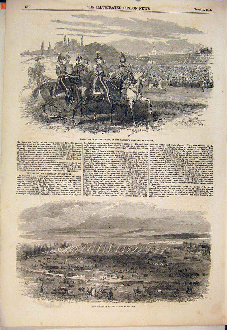Print British Troops Scutari Queen Birthday Inspection 1854 66Maa0 Old Original