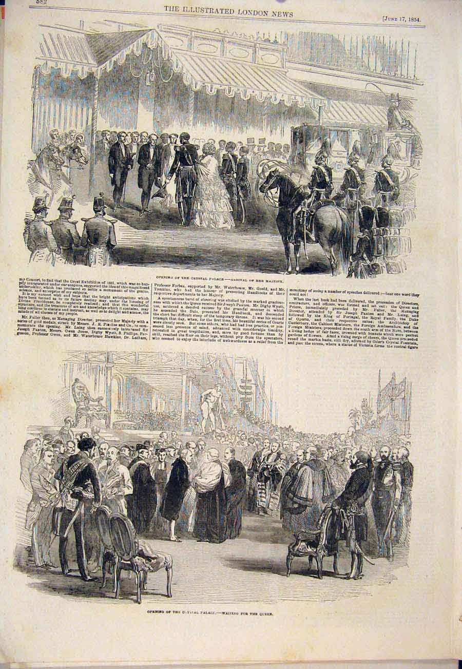 Print Crystal Palace London Queen Esk Millwall 1854 82Amaa0 Old Original
