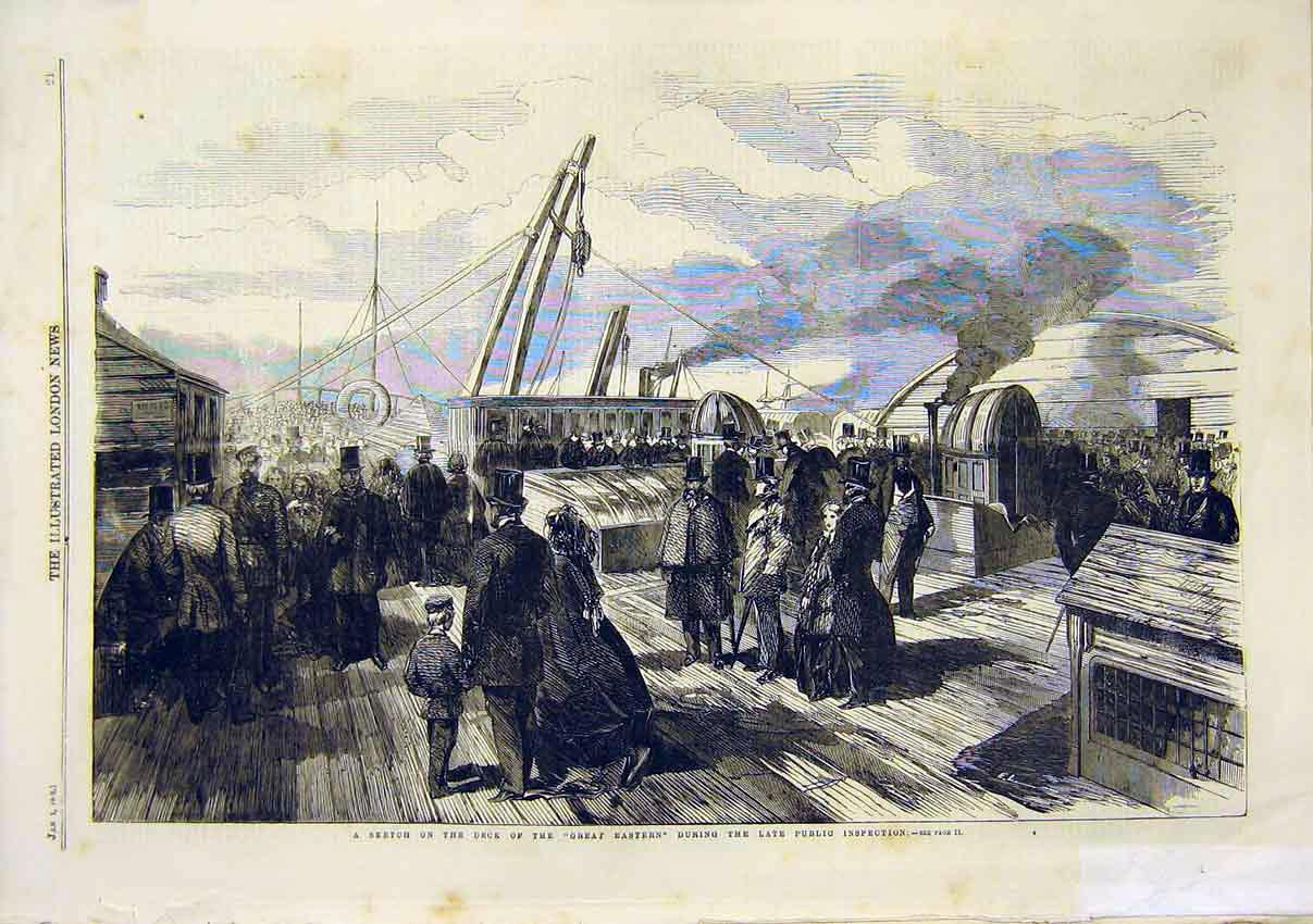 Print Sketch Deck Great Eastern Ship Public Inspection 1859 21Maa0 Old Original
