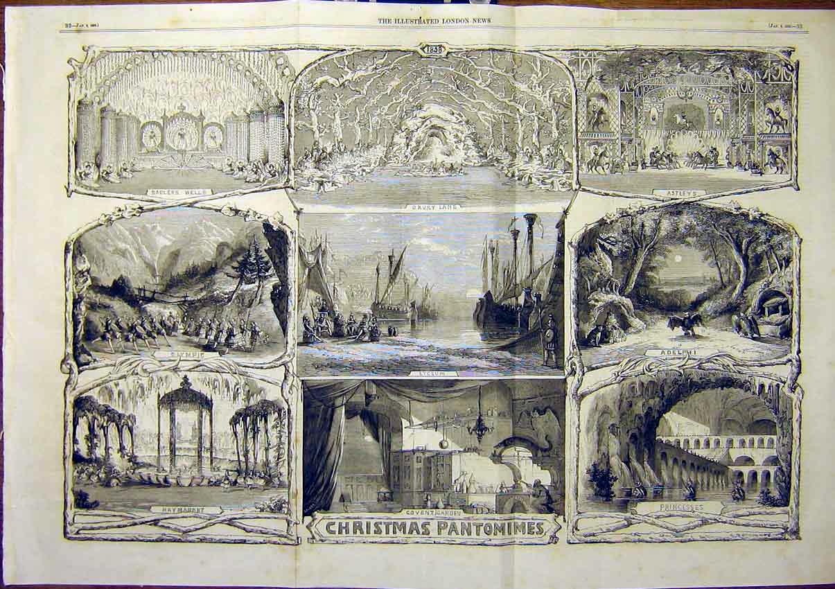 Print Sadlers Wells Chrismas Pantomimes 1859 33Tmaa0 Old Original
