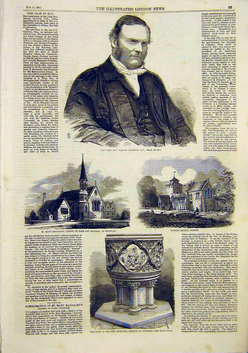 Print Goodwin Ely Chapel Chiswick Surrey Church Font Dunkeld 53Maa0 Old Original
