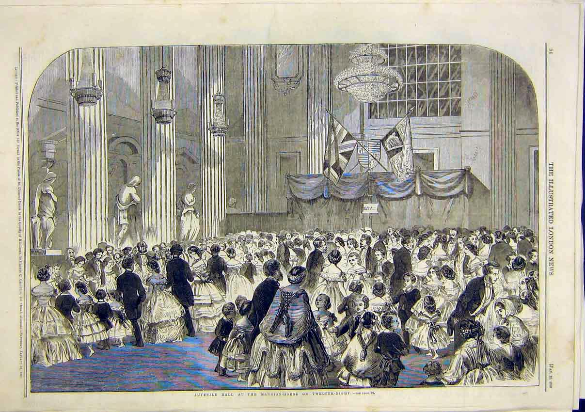 Print Juvenile Ball Mansion House Twelfth Night 1859 96Maa0 Old Original
