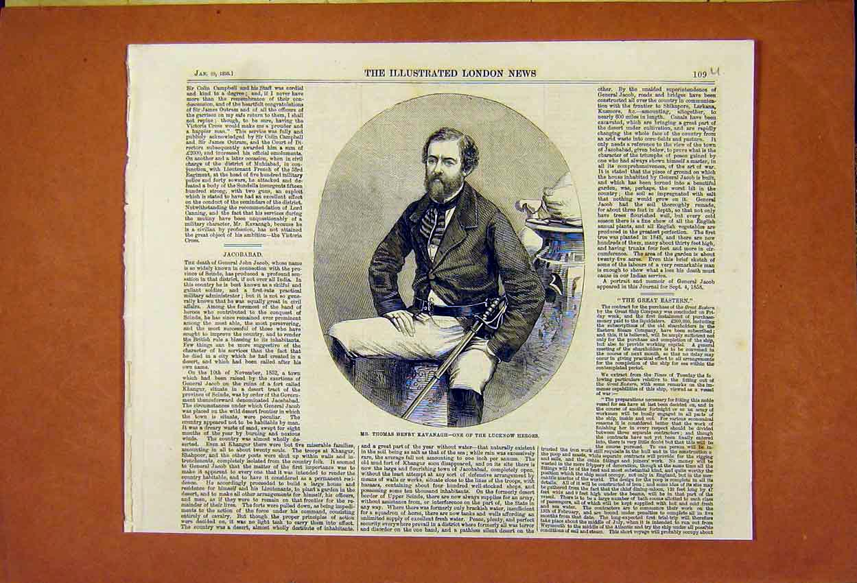 Print Thomas Henry Kavanagh Lucknow Hero 1859 09Umaa0 Old Original