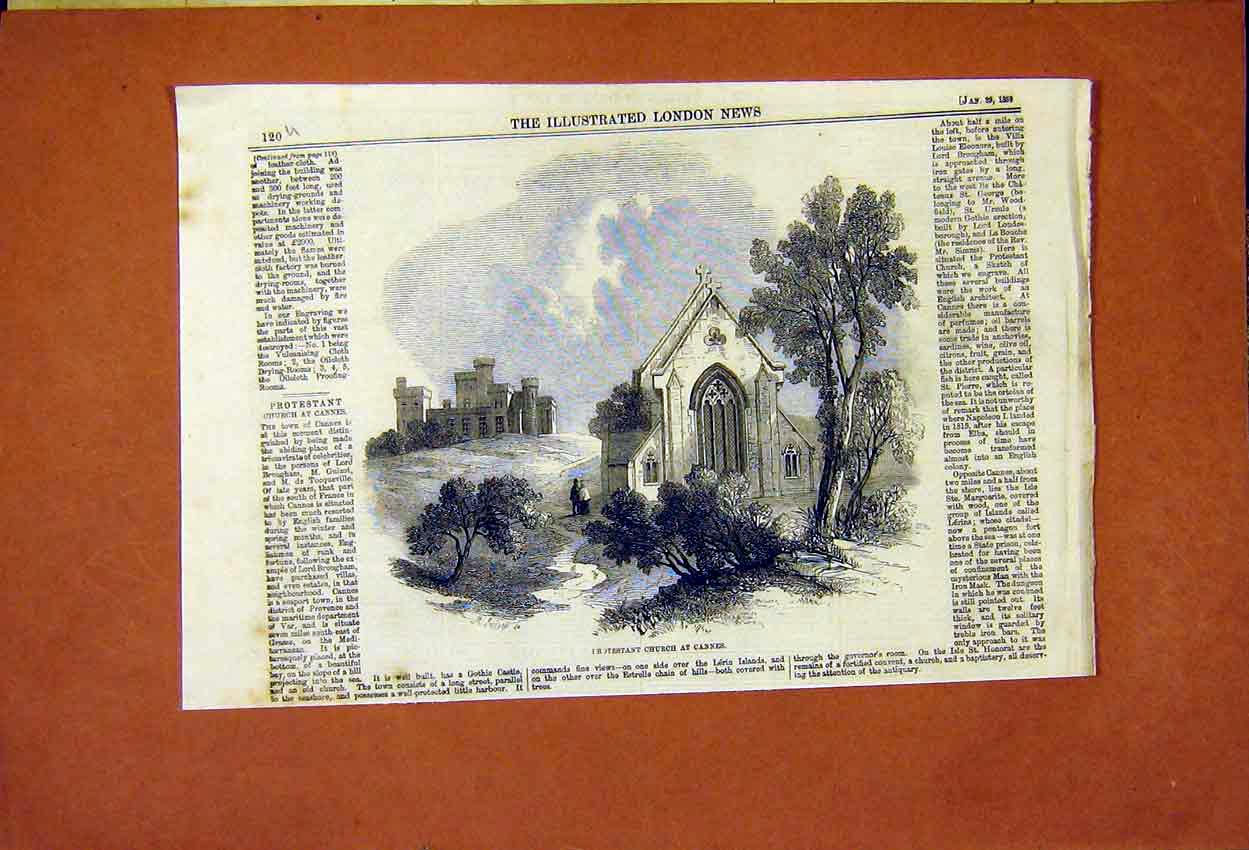 Print Cannes France Protestant Church 1859 20Umaa0 Old Original