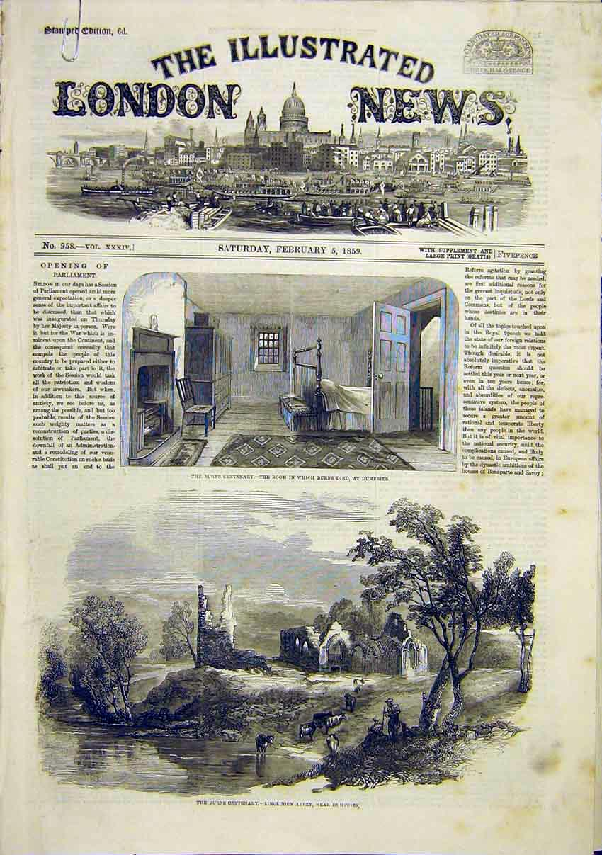 Print Burns Dumfries Lincluden Abbey Alloways Kirk 1859 22Amaa0 Old Original