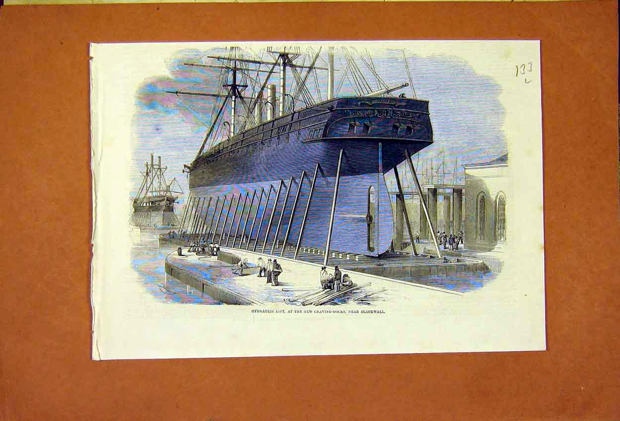 Print Blackwall Craving Dock Hydraulic Lift 1859 33Lmaa0 Old Original