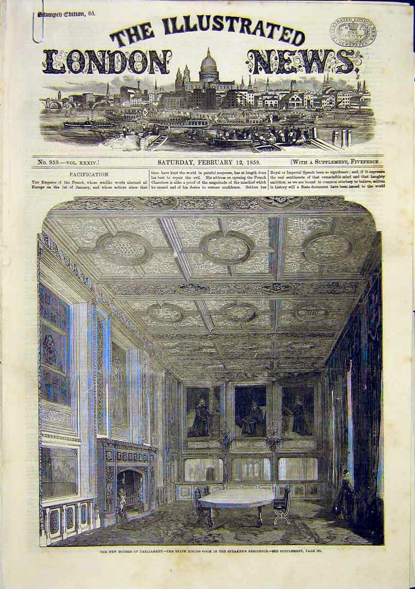 Print Houses Parliament Commons Staircase Speaker 1859 46Amaa0 Old Original