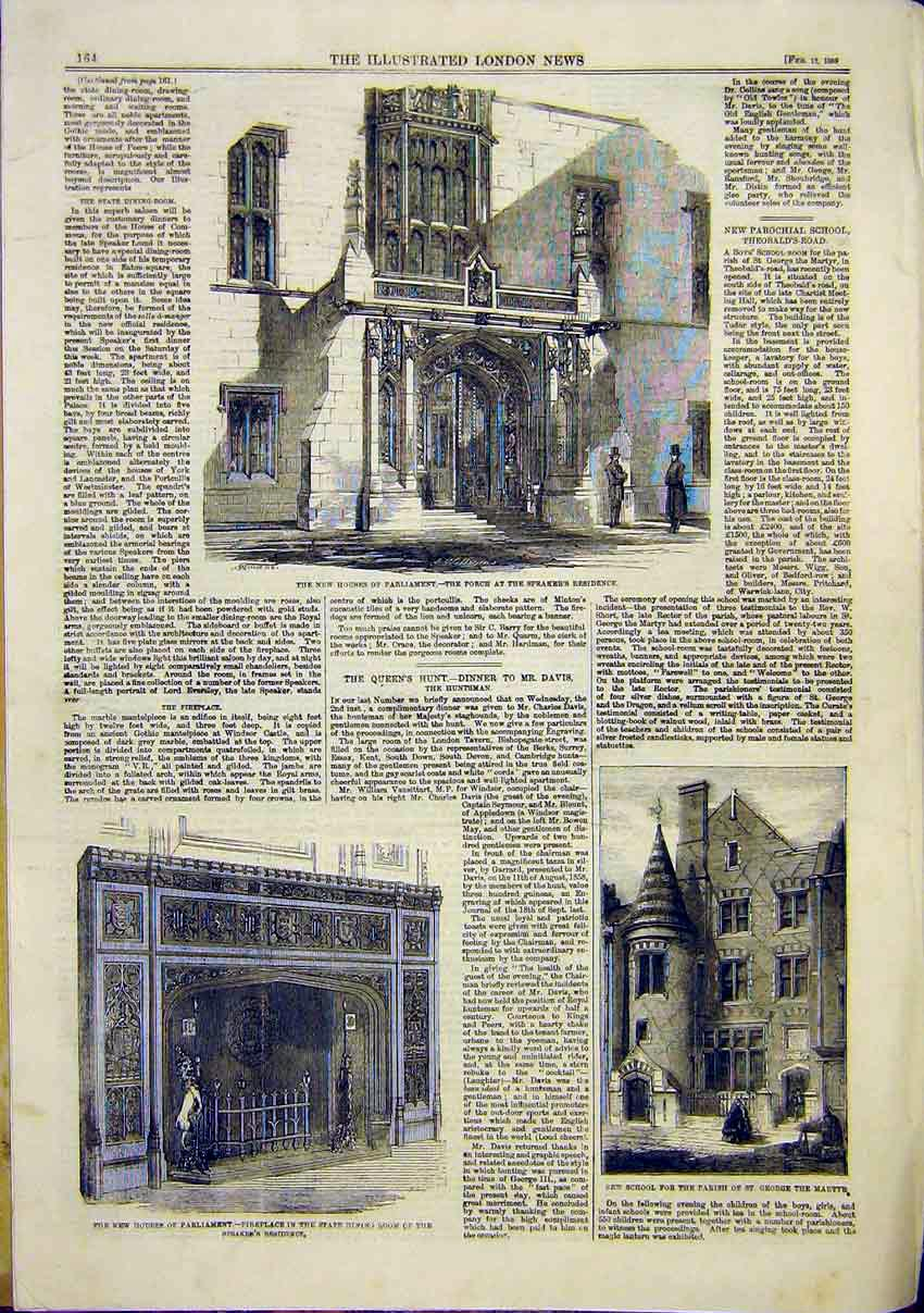 Print Houses Parliament Porch Fireplace School Building 1859 64Maa0 Old Original