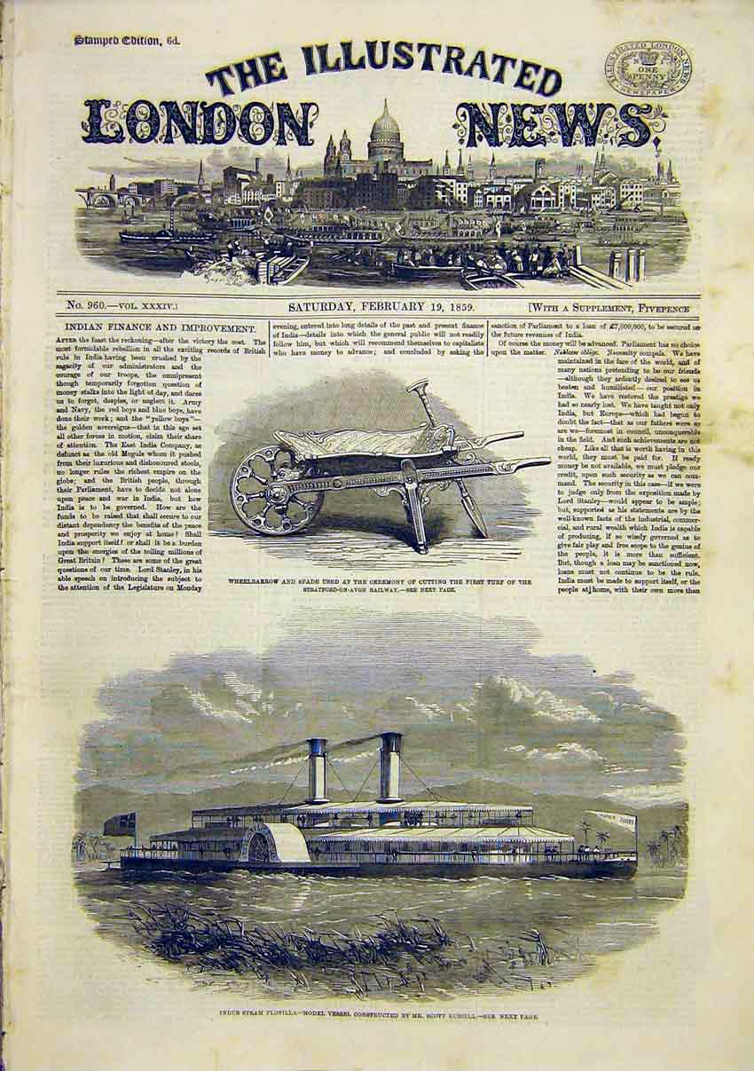 Print Wheelbarrow Spade Stratford Indus Steam Flotilla 1859 70Maa0 Old Original