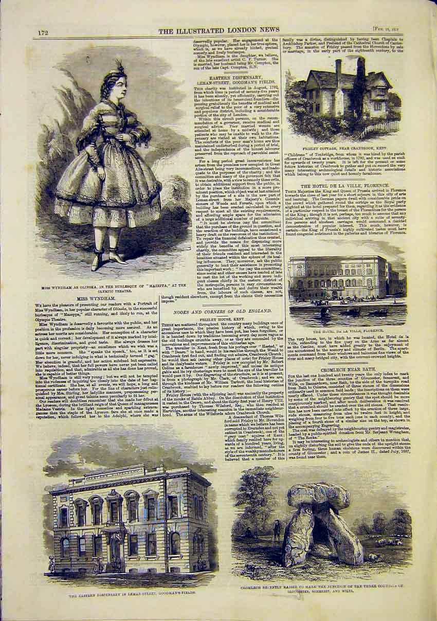 Print Wyndham Theatre Cromlech Florence Kent Building 1859 72Maa0 Old Original
