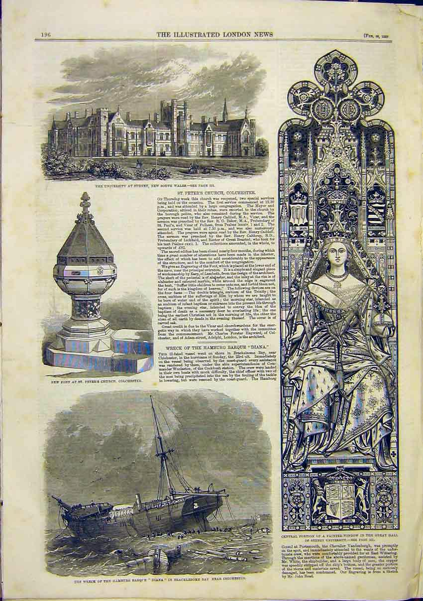 Print University Sydney Colchester Church Wreck Barque Diana 96Maa0 Old Original