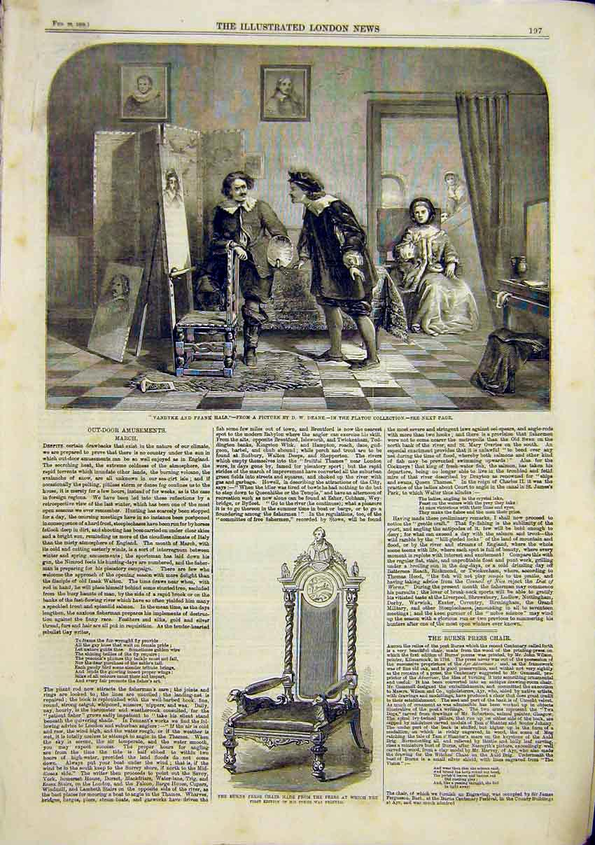 Print Deane Vandyke Rank Hals Fine Art 1859 Burns Press Chair 97Maa0 Old Original