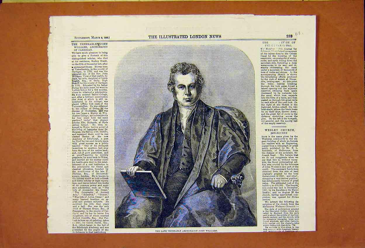 Print Venerable Archdeacon John Williams Cardigan 1859 33Umaa0 Old Original