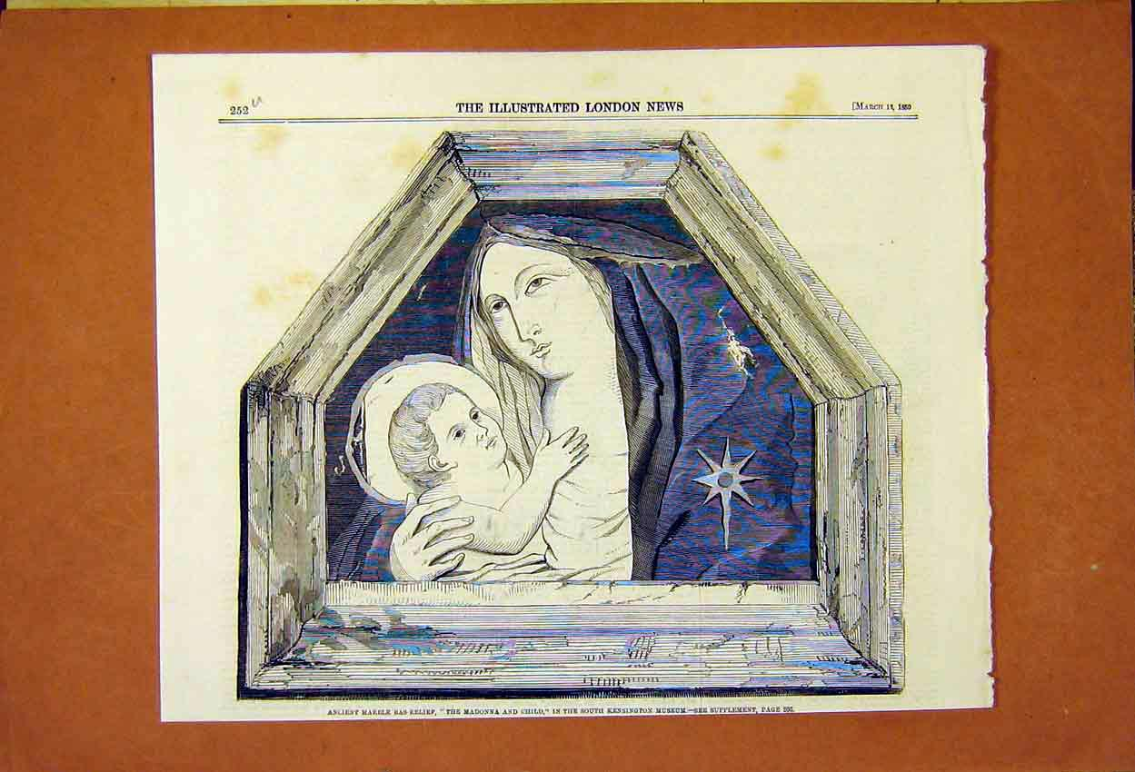 Print South Kensington Museum Madonna And Child Marble 1859 52Umaa0 Old Original